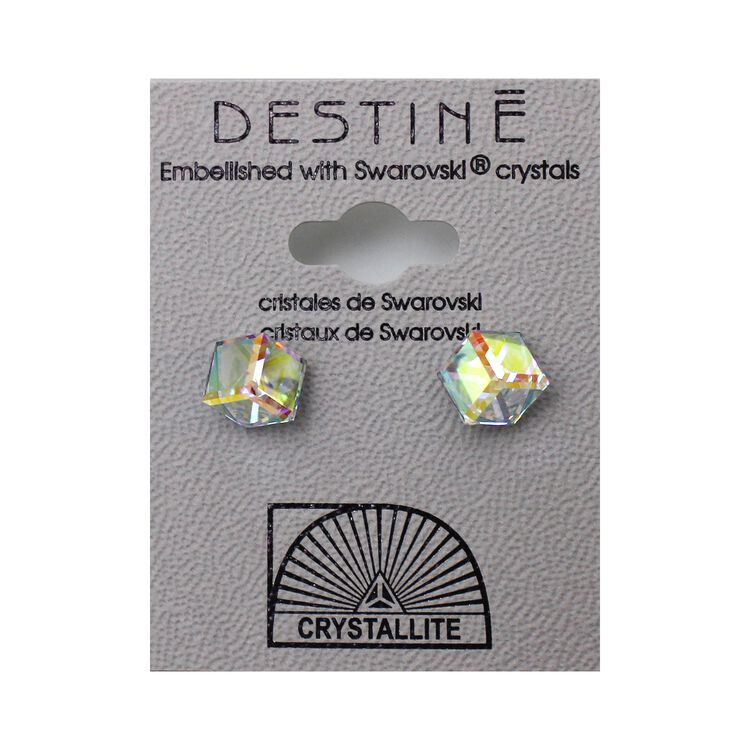 Destine Earring AB Tilted Cube 6mm