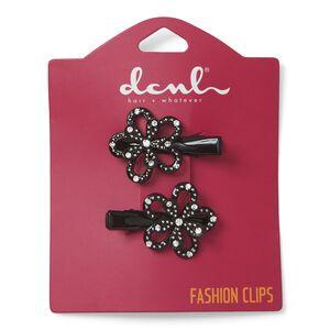 Black Flower Salon Clips