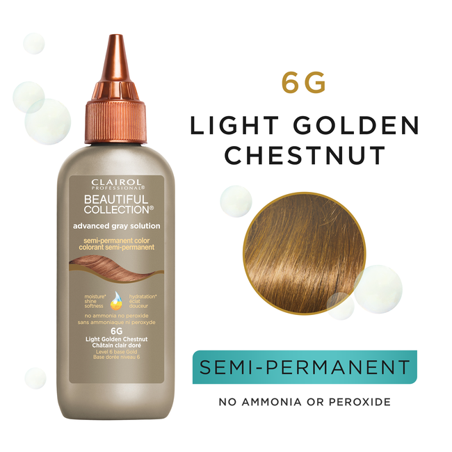 Clairol Beautiful Collection Advanced Gray Solution Semi-permanent Color Light Golden Chestnut