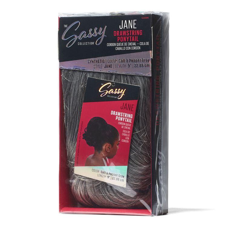 Jane Salt & Pepper Gray 9 Inch Drawstring Ponytail
