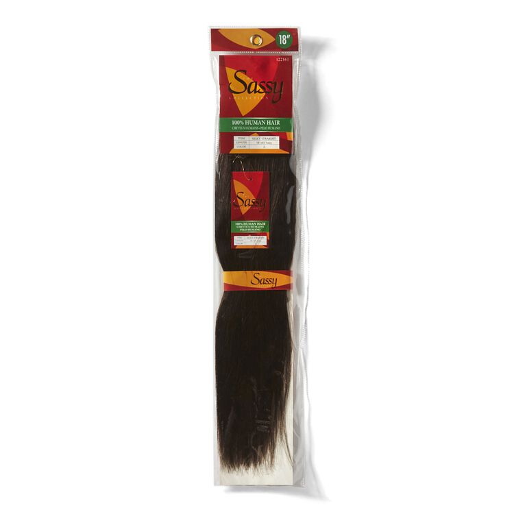Silky Straight Darkest Brown 18 Inch Human Hair Extension