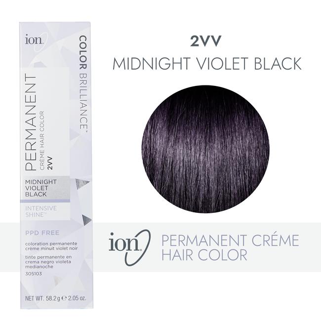 2VV Midnight Violet Black Permanent Creme Hair Color