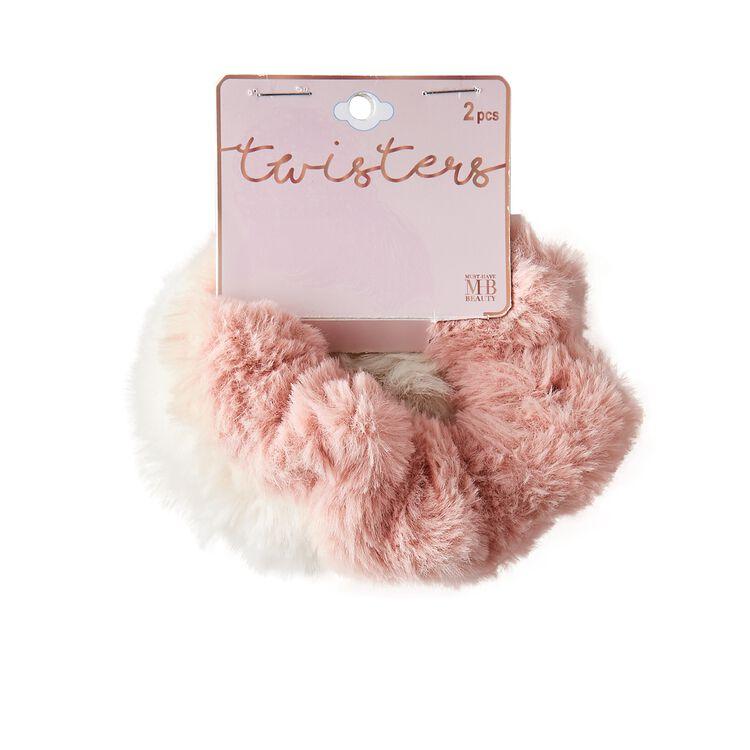 Pink & White Furry Hair Elastics