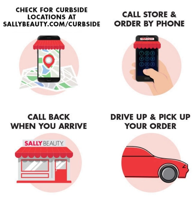 1. Check for curbside locations. 2. Call store and order by phone. 3. Call back when you arrive. 4. Drive up and pickup your order.