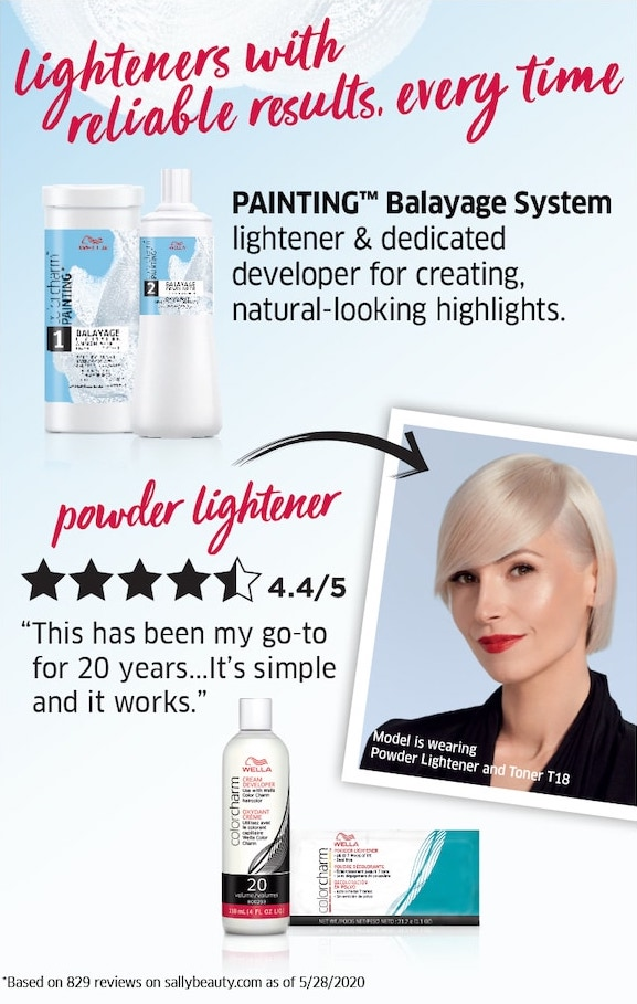 Lighteners with reliable results, every time. Painting Balayage System lightener & dedicated developer for creating natural-looking highlights.