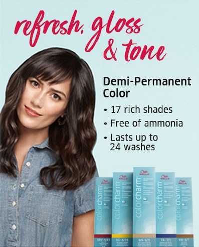 Refresh, gloss, & tone. Demi-Permanent color. 17 rich shades. Free of ammonia. Lasts up to 24 washes.